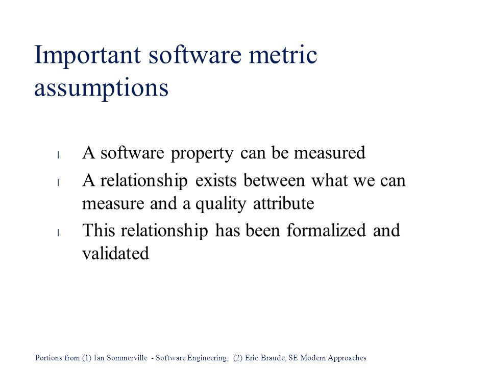Important software metric assumptions