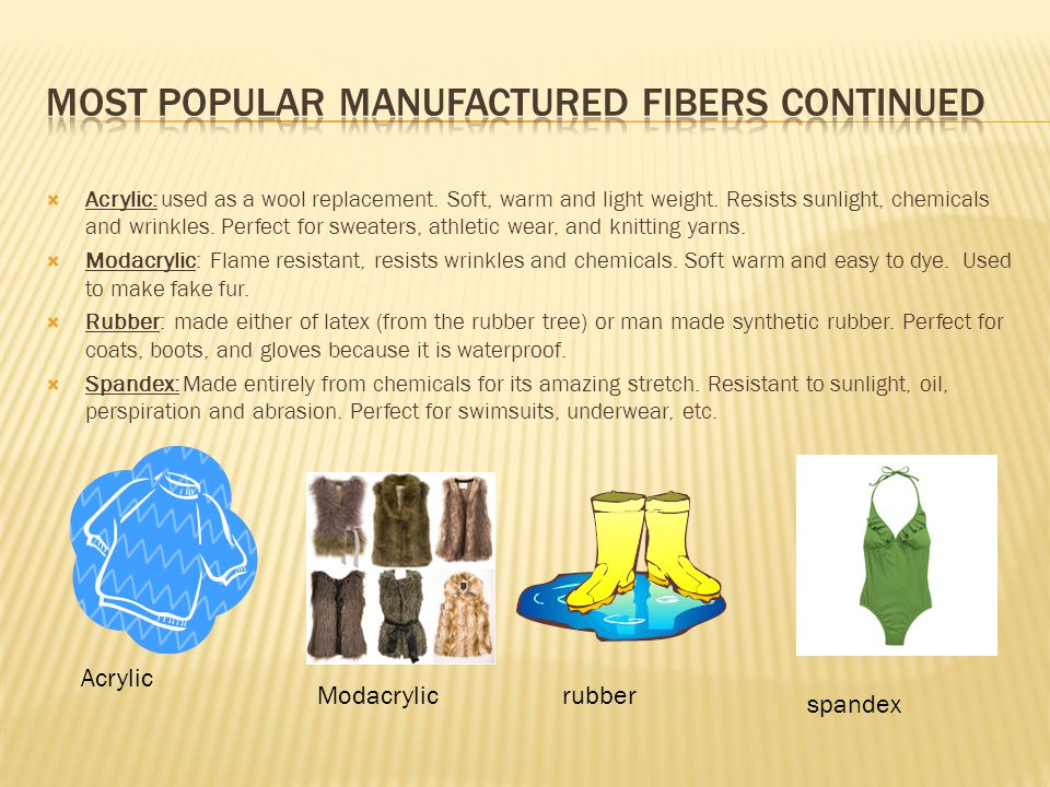 Most popular manufactured fibers continued