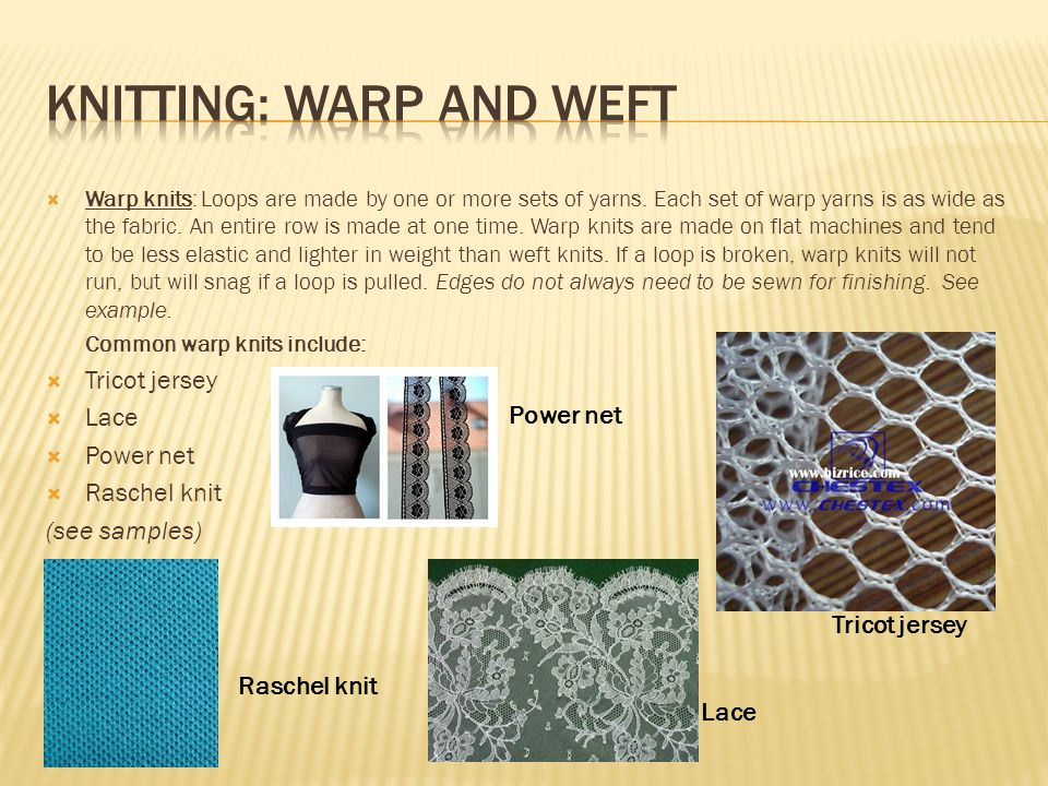 Knitting: warp and weft