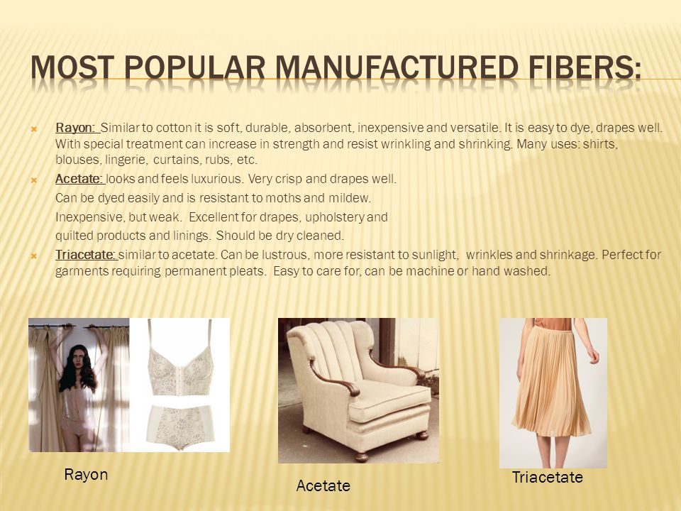 Most popular manufactured fibers: