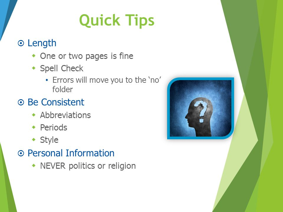 Quick Tips Length Be Consistent Personal Information