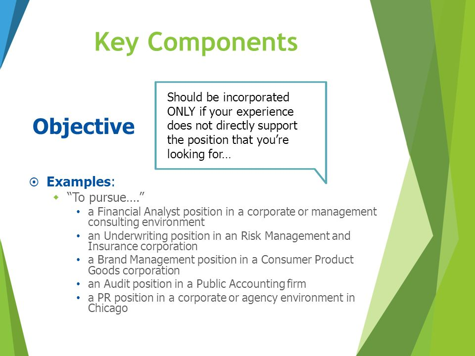 Key Components Objective Examples: To pursue….