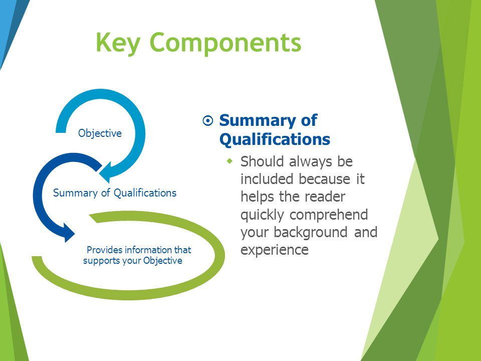 Key Components Summary of Qualifications