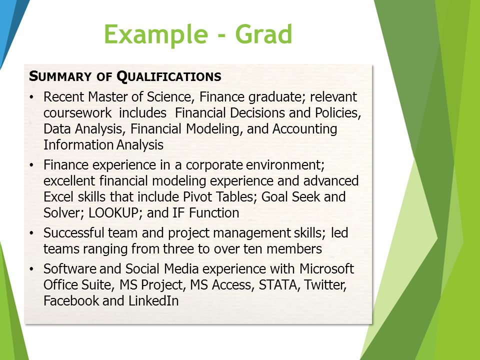 Example - Grad Summary of Qualifications