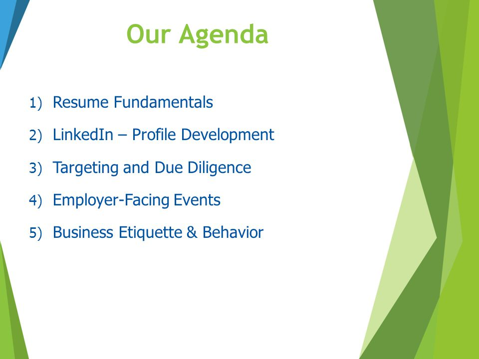 Our Agenda Resume Fundamentals LinkedIn – Profile Development