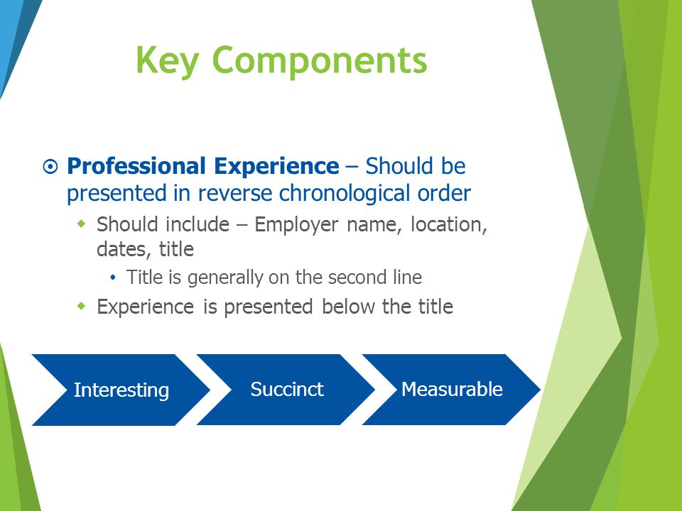 Key Components Professional Experience – Should be presented in reverse chronological order. Should include – Employer name, location, dates, title.