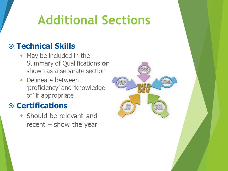 Additional Sections Technical Skills Certifications