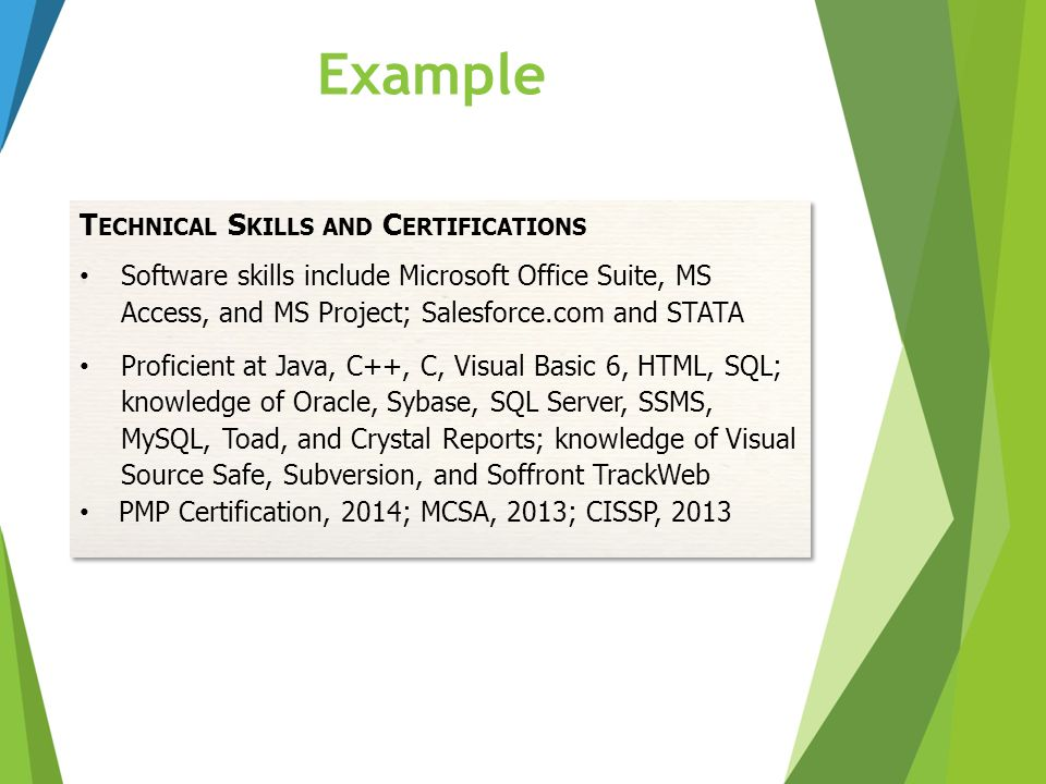 Example Technical Skills and Certifications