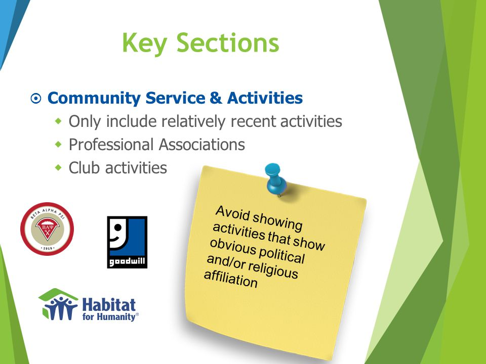 Key Sections Community Service & Activities
