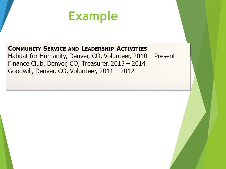 Example Community Service and Leadership Activities