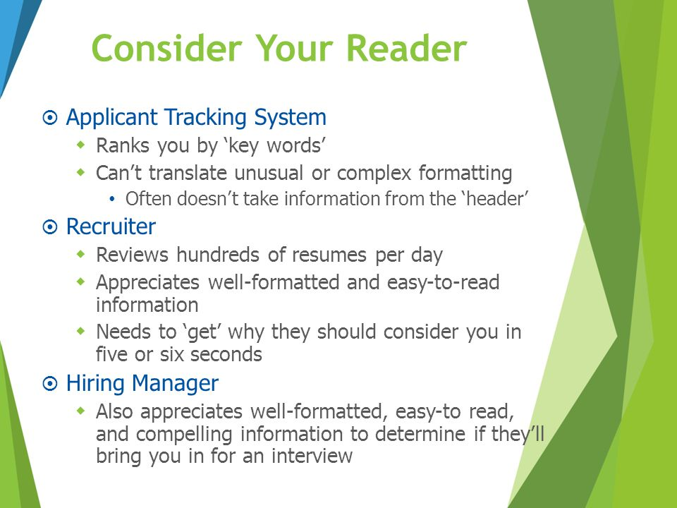 Consider Your Reader Applicant Tracking System Recruiter