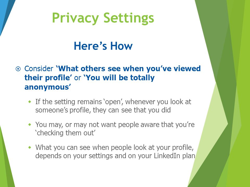 Privacy Settings Here's How