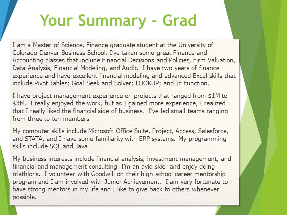 Your Summary - Grad