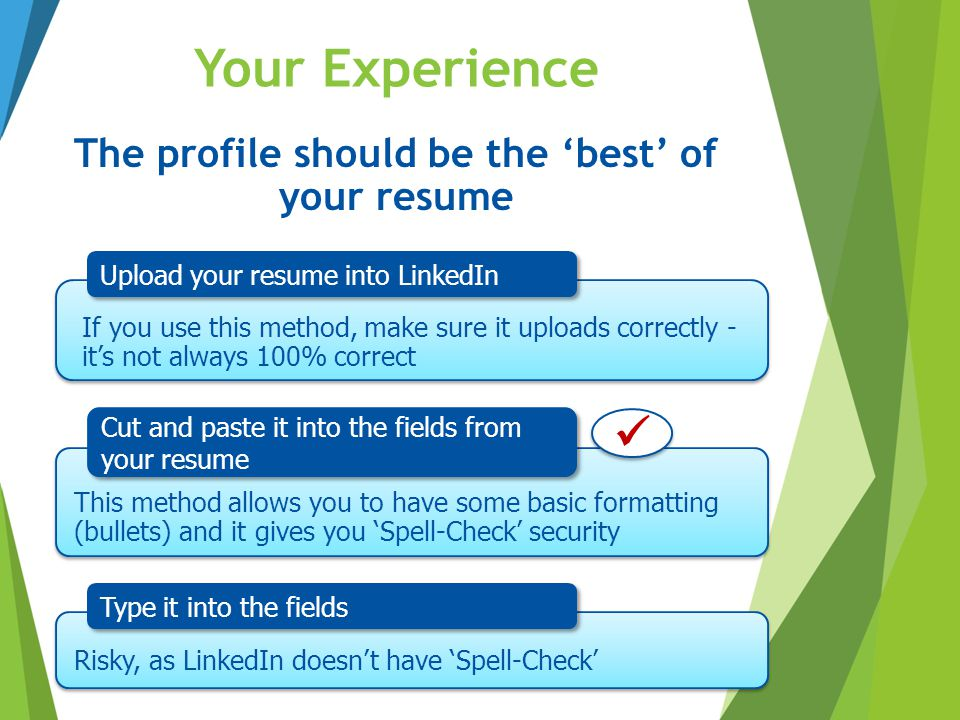 The profile should be the 'best' of your resume