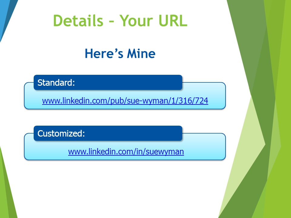 Details – Your URL Here's Mine Standard: Customized: