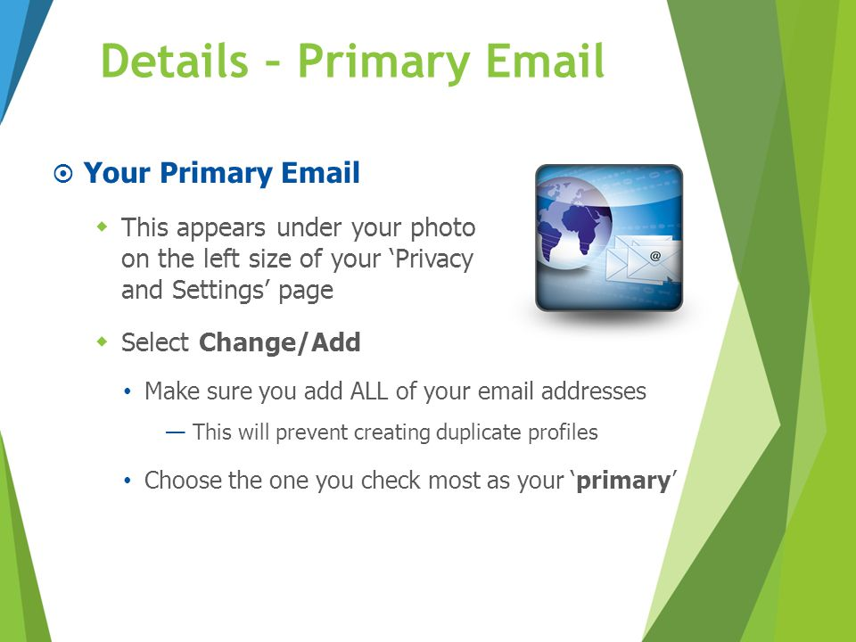 Details – Primary Email