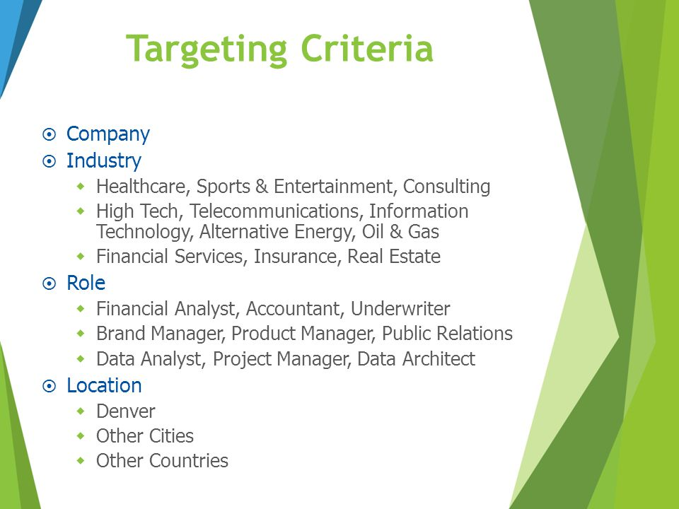 Targeting Criteria Company Industry Role Location