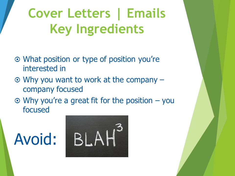 Cover Letters | Emails Key Ingredients