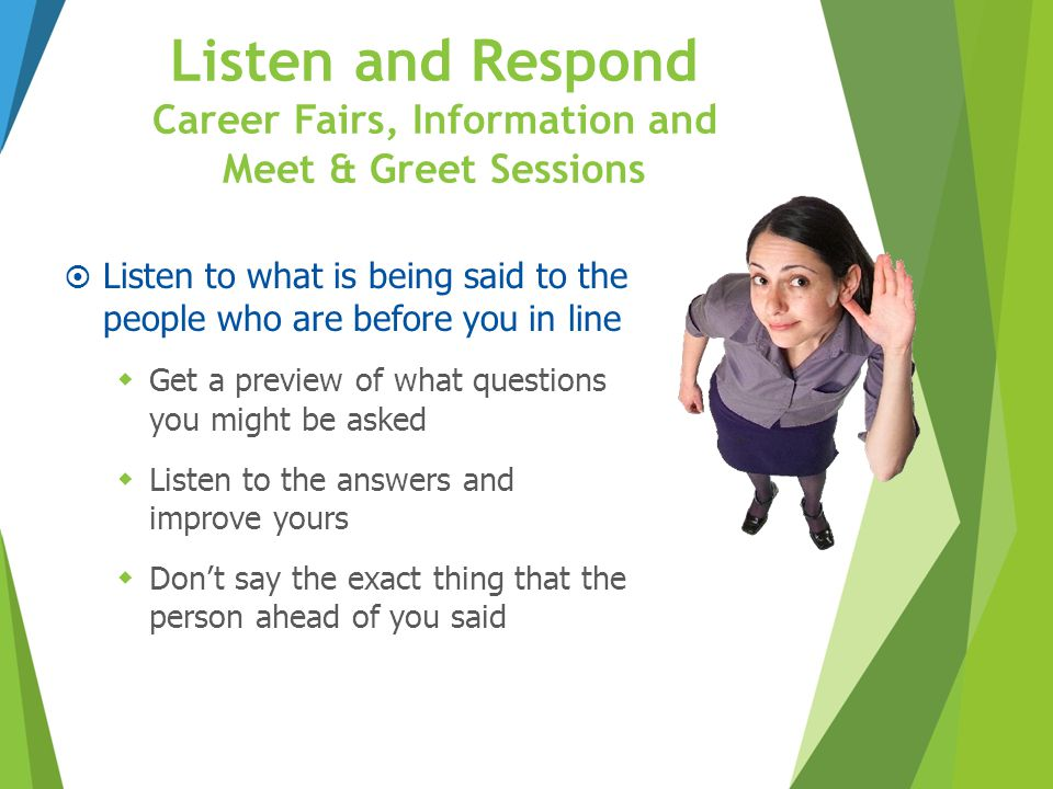 Listen and Respond Career Fairs, Information and Meet & Greet Sessions