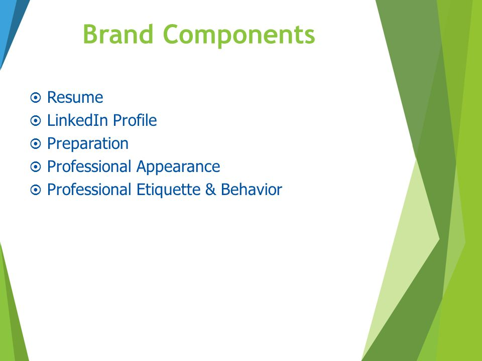 Brand Components Resume LinkedIn Profile Preparation
