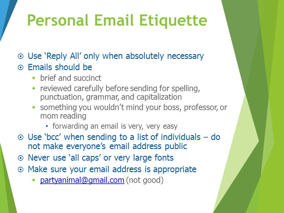 Personal Email Etiquette