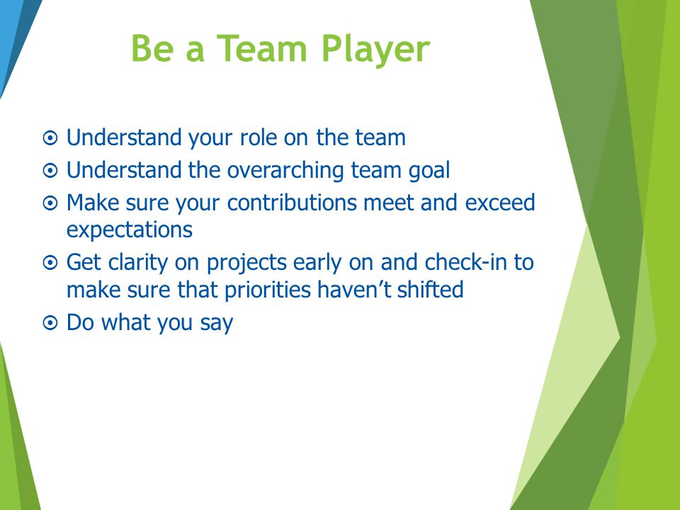 Be a Team Player Understand your role on the team