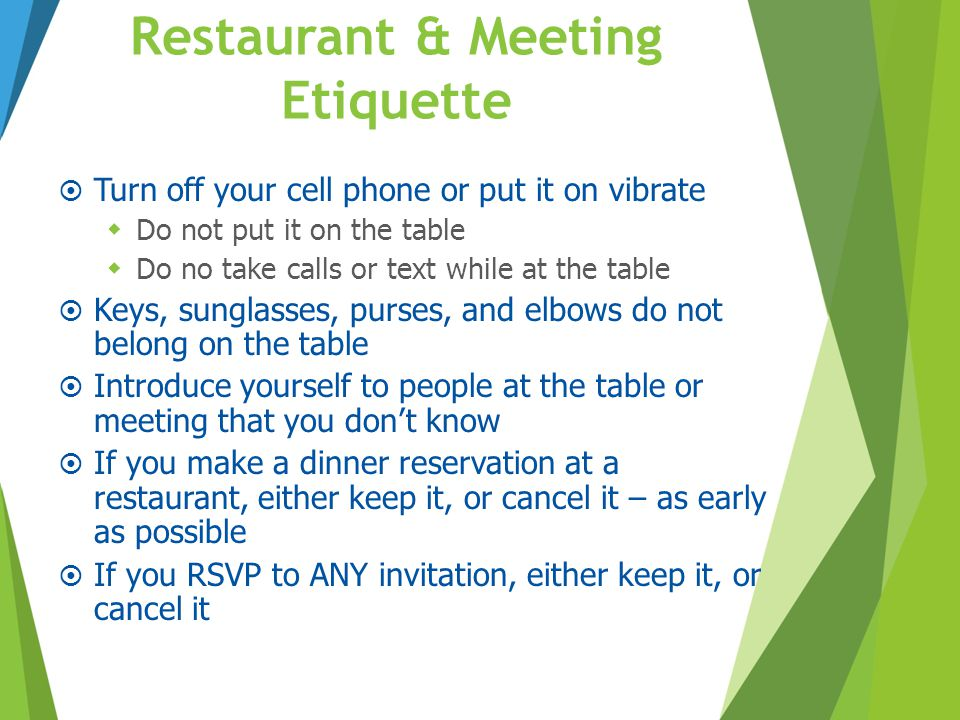 Restaurant & Meeting Etiquette