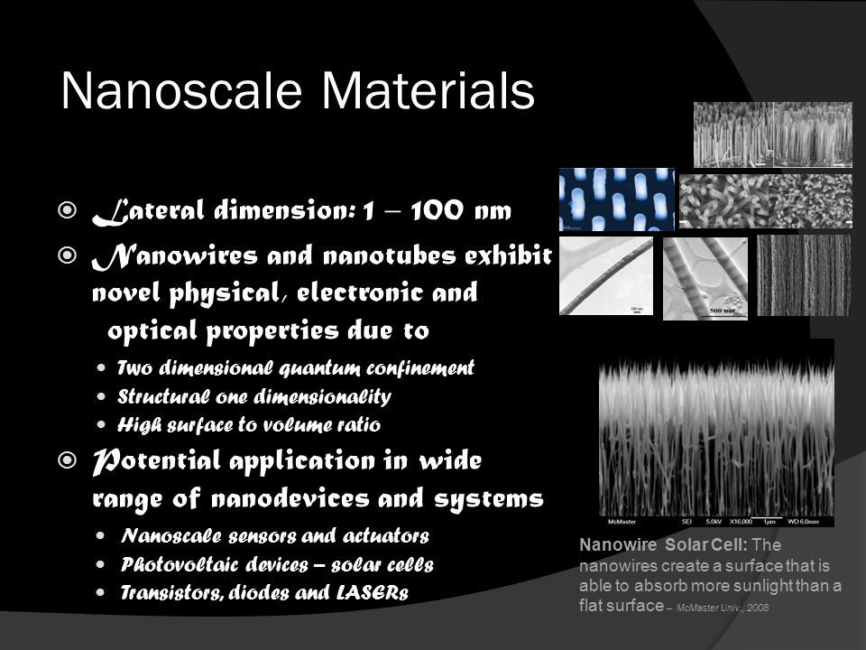 Nanoscale Materials Nanowires and Nanotubes