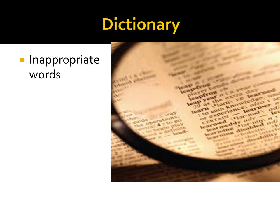 Dictionary Inappropriate words