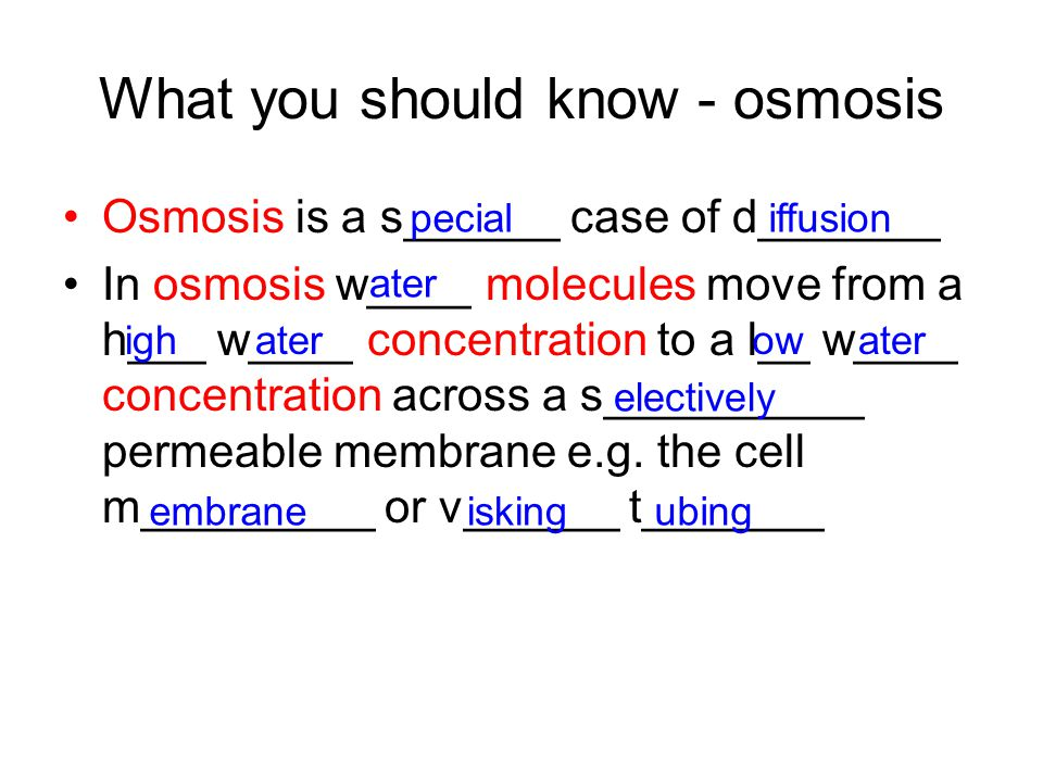 What you should know - osmosis