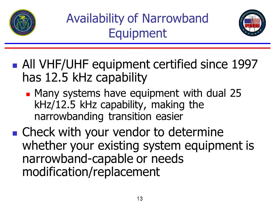 Availability of Narrowband Equipment