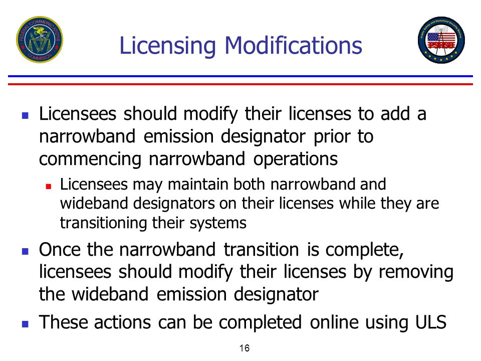 Licensing Modifications