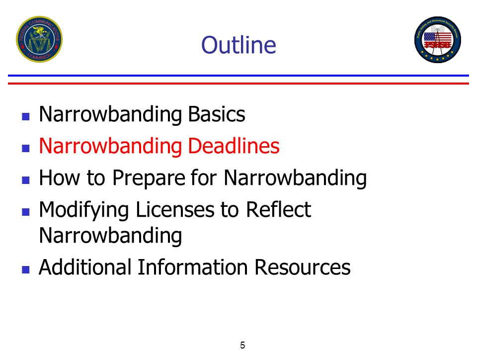 Outline Narrowbanding Basics Narrowbanding Deadlines