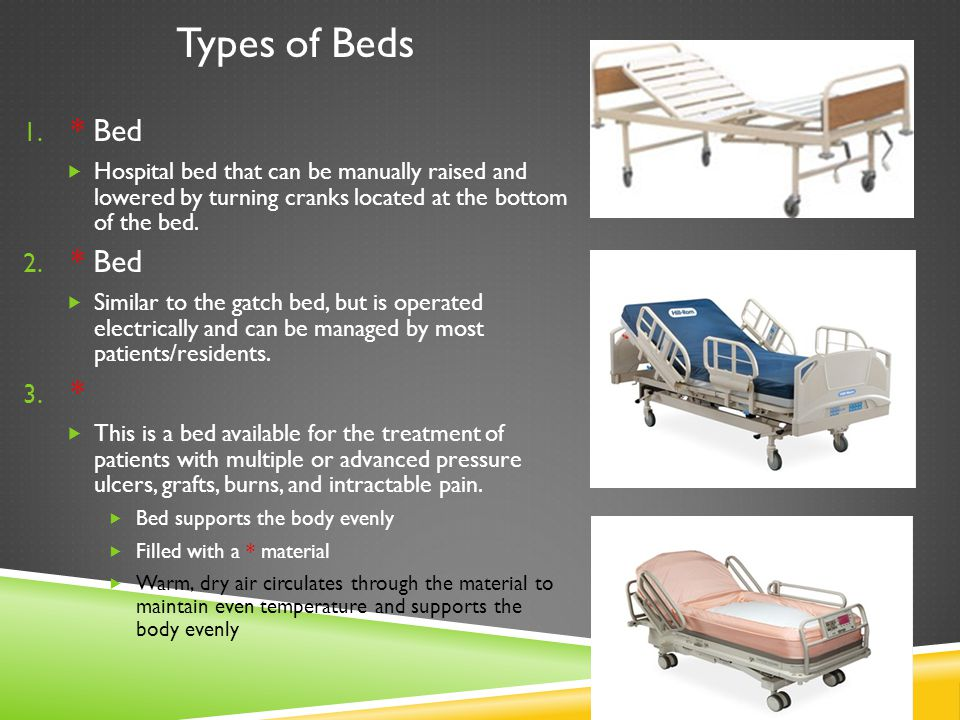 Types of Beds * Bed. Hospital bed that can be manually raised and lowered by turning cranks located at the bottom of the bed.