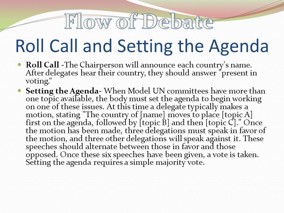 Roll Call and Setting the Agenda