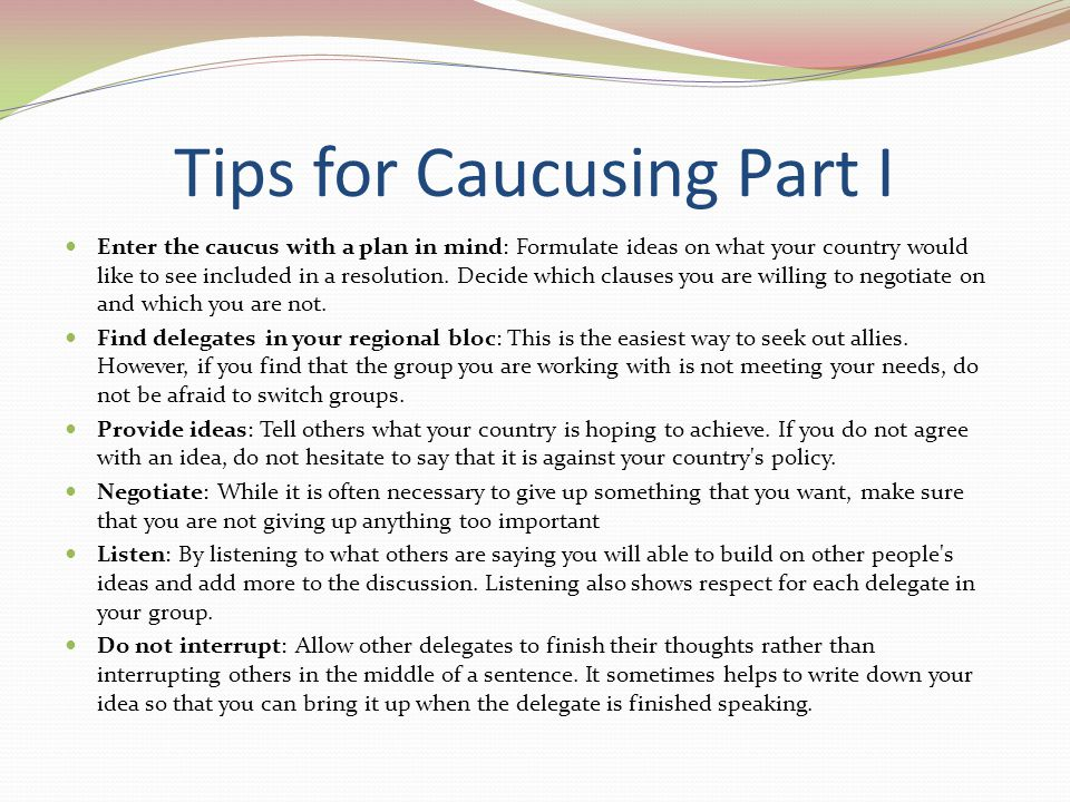 Tips for Caucusing Part I