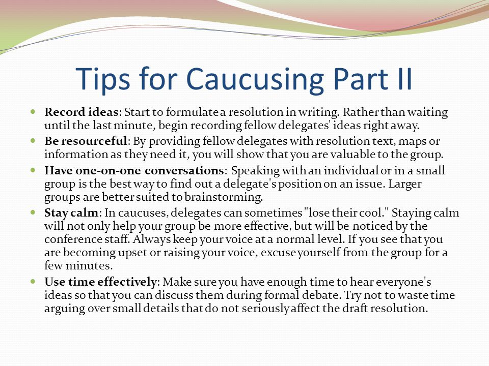 Tips for Caucusing Part II