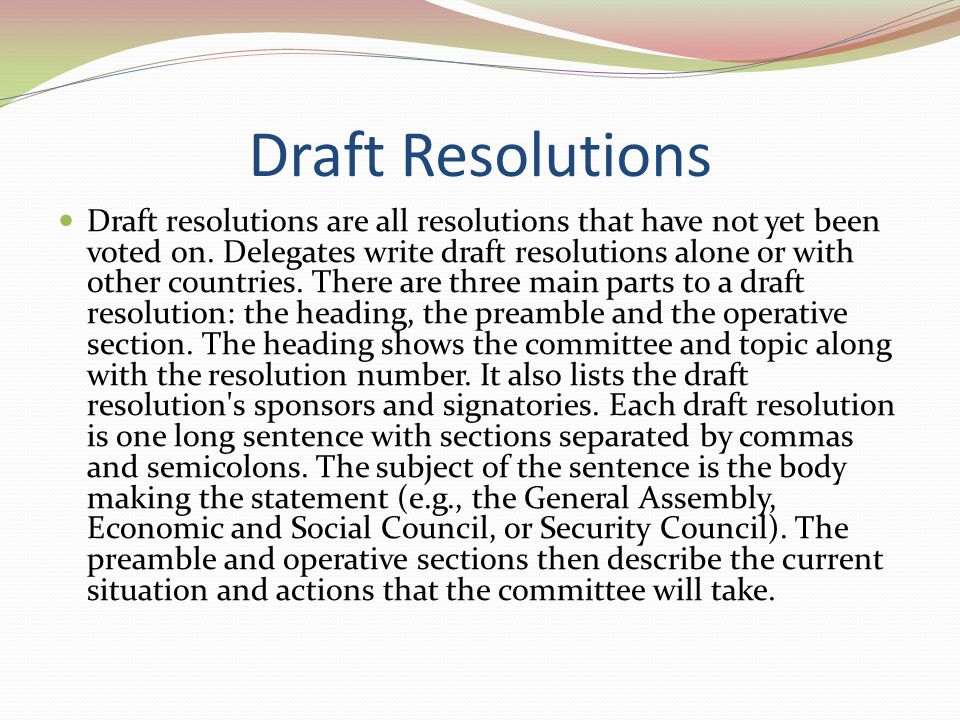 Draft Resolutions