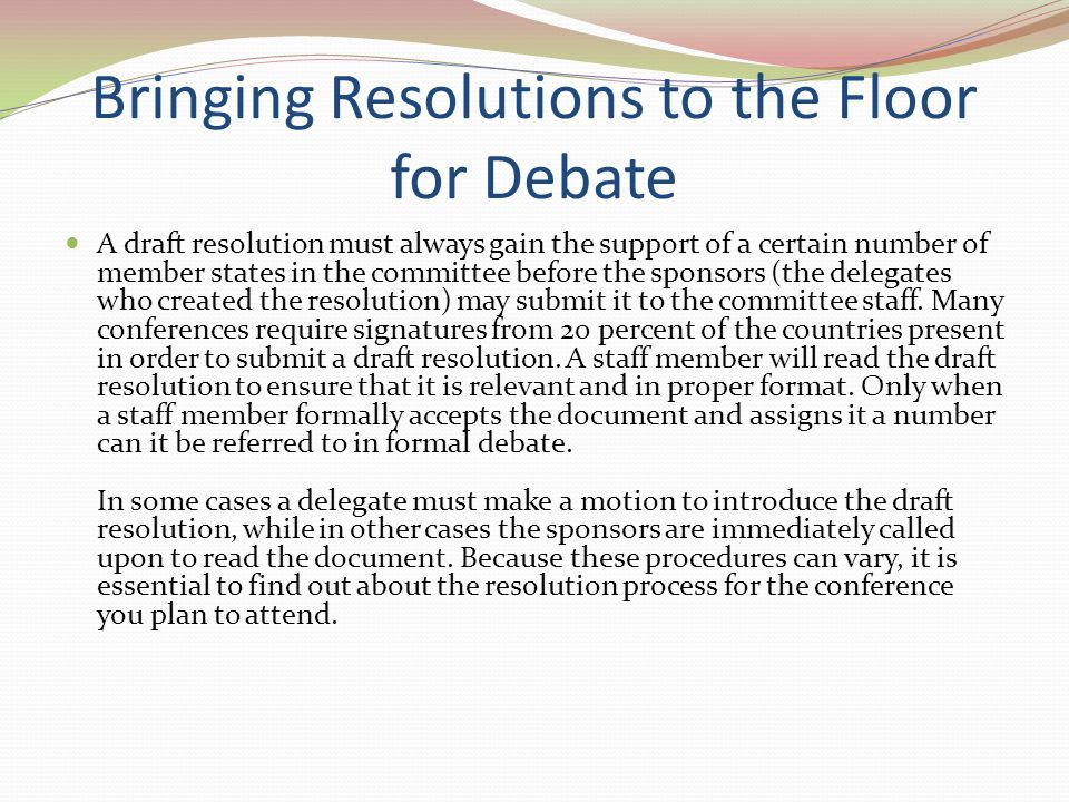 Bringing Resolutions to the Floor for Debate