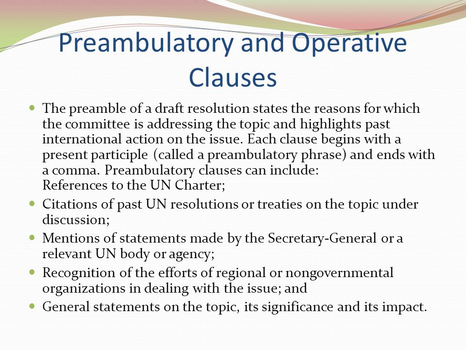 Preambulatory and Operative Clauses