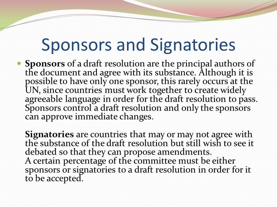 Sponsors and Signatories