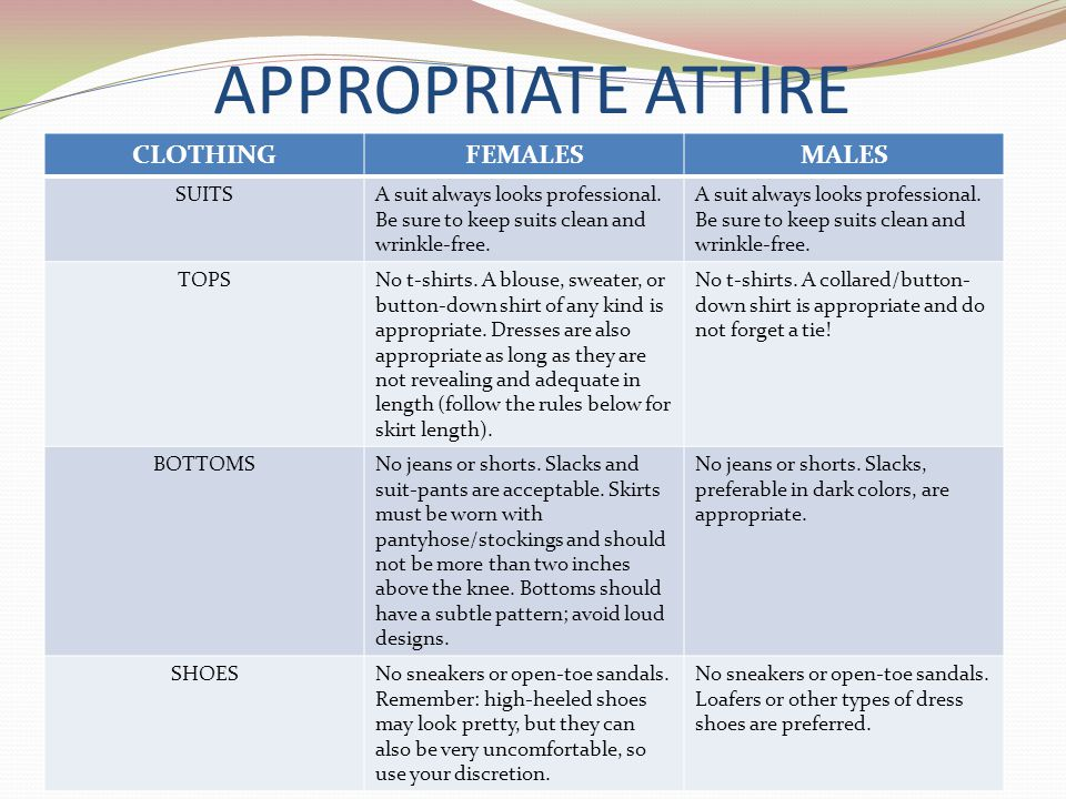 APPROPRIATE ATTIRE CLOTHING FEMALES MALES SUITS