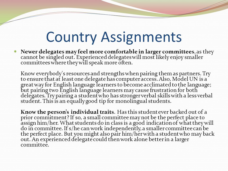 Country Assignments