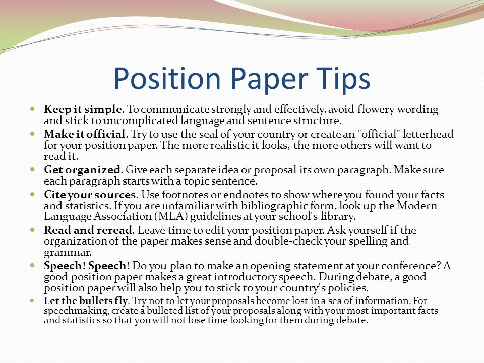 Position Paper Tips