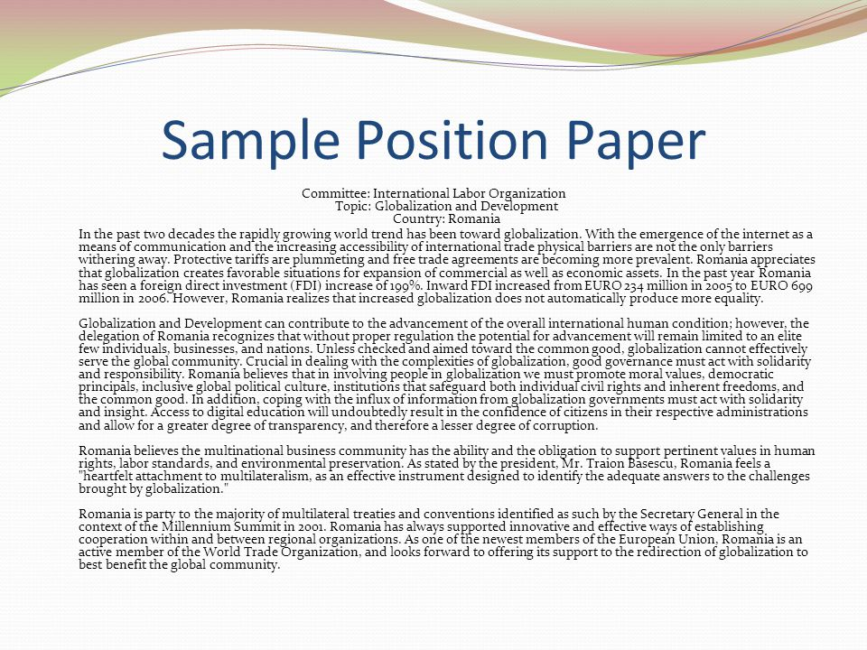 Sample Position Paper