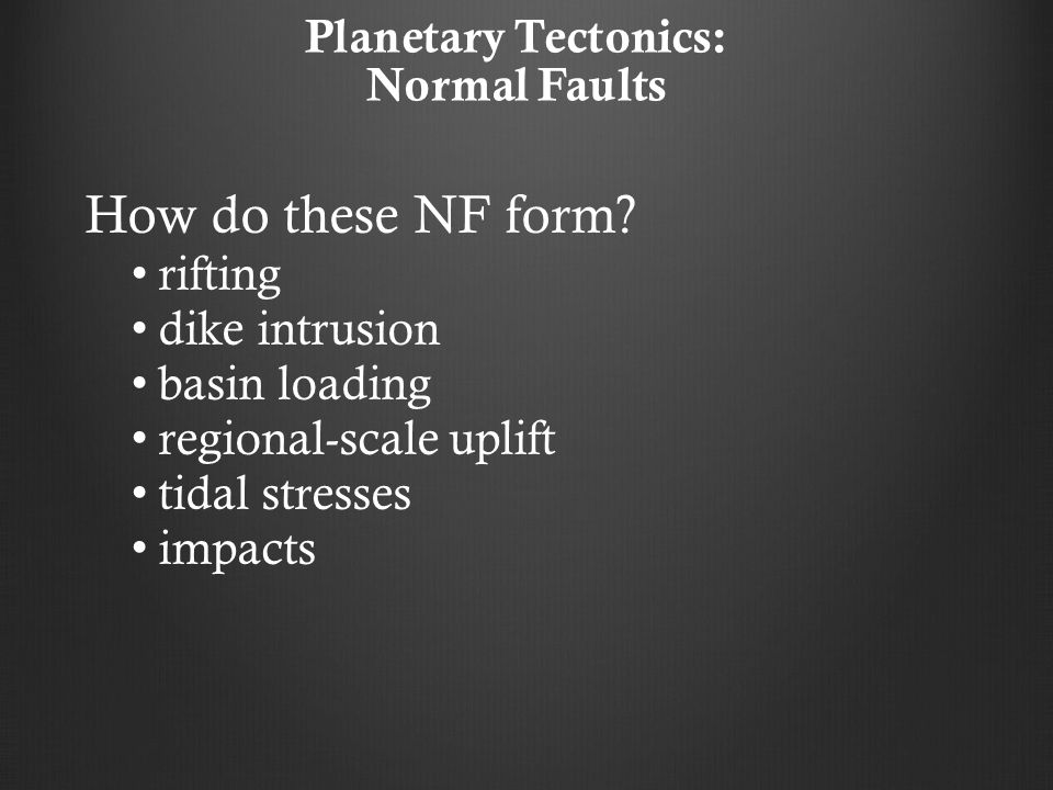 Planetary Tectonics: Normal Faults