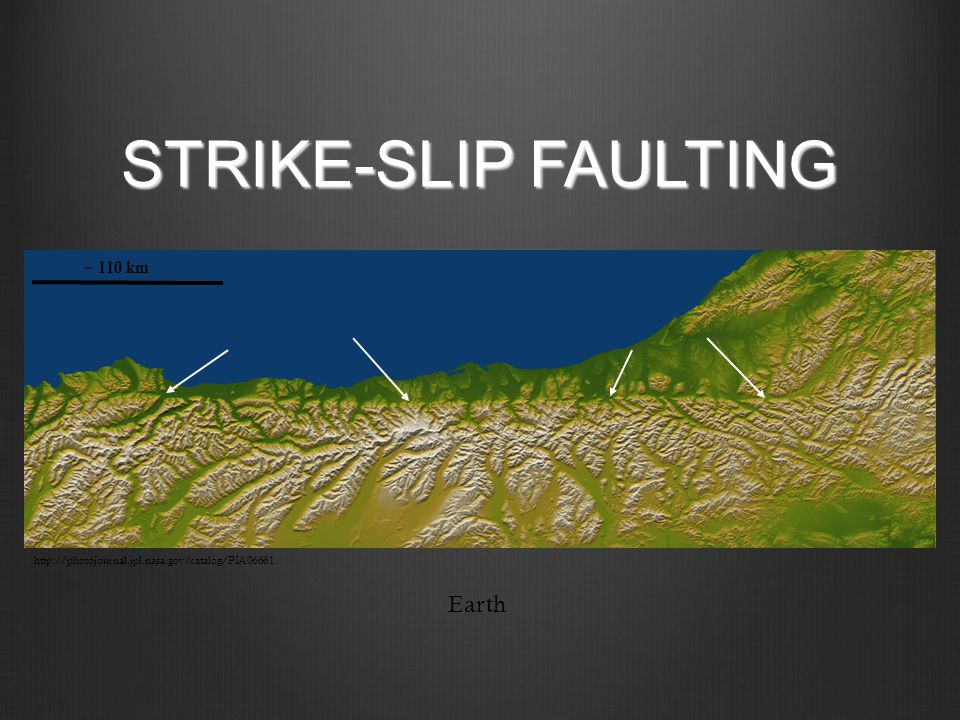 STRIKE-SLIP FAULTING Earth ~ 110 km