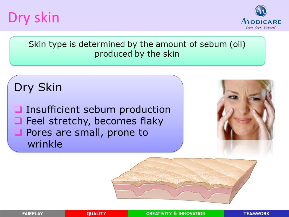 Dry skin Dry Skin Insufficient sebum production