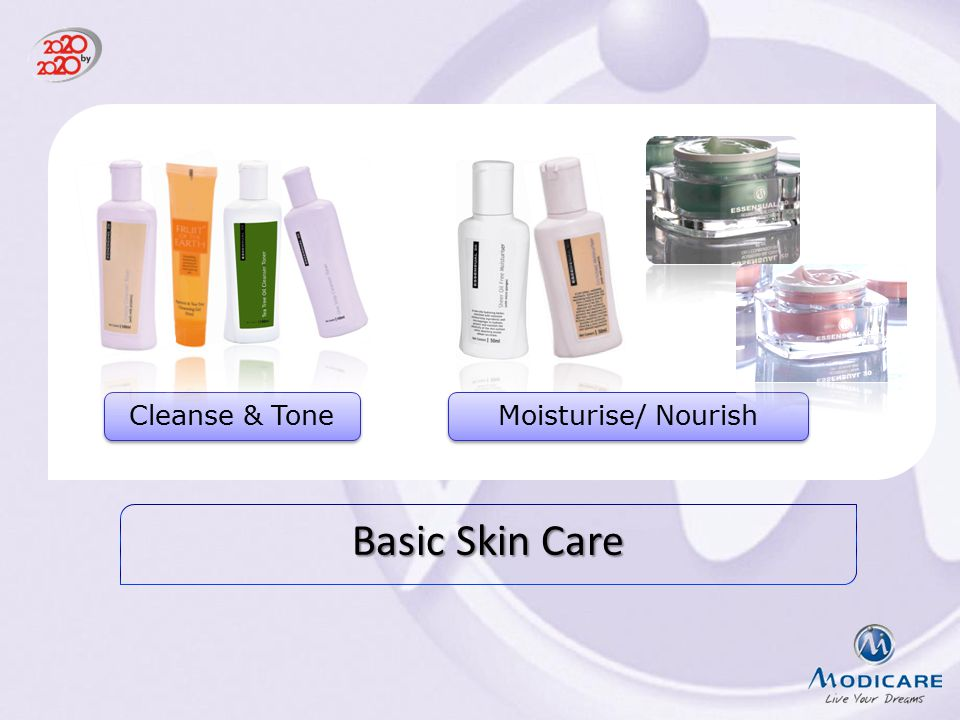 Cleanse & Tone Moisturise/ Nourish Read the slide Basic Skin Care