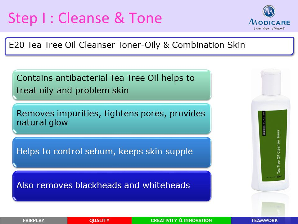 Step I : Cleanse & Tone E20 Tea Tree Oil Cleanser Toner-Oily & Combination Skin. Contains antibacterial Tea Tree Oil helps to.